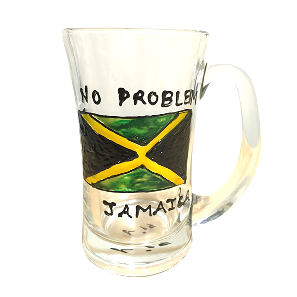 NO PROBLEM ジャマイカのガラスカップ (手作り)