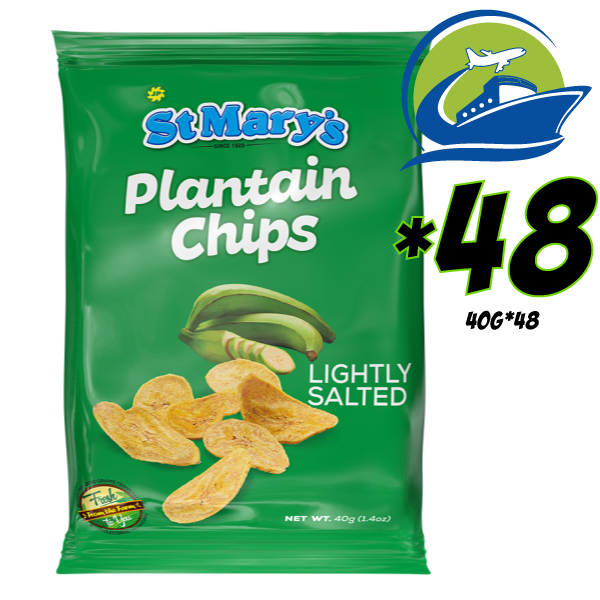 St. Mary Green Plantain chips 48 bags*40 grams [セントメリーズグリーンプランテインチップス 48パック] (40g)