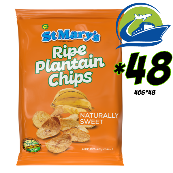 St. Mary Ripe Plantain chips 48 bags*40 grams [セントメリーズライププランテンチップス 48パック] (40g)