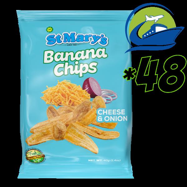 St. Mary Banana chips- Cheese and Onion -48 bags*40 grams [セントメリーズチーズオニオン味バナナチップス  48パック] (40g)